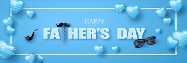 Feliz dia dos pais saudação banner Vetor Premium