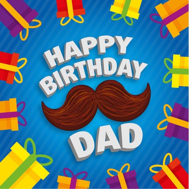 Feliz dia dos pais Vetor Premium