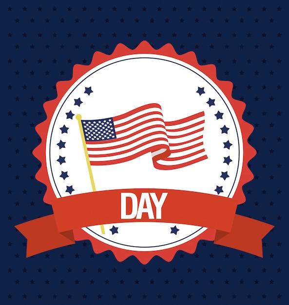 Feliz dia dos presidentes com selo de bandeira Vetor Premium