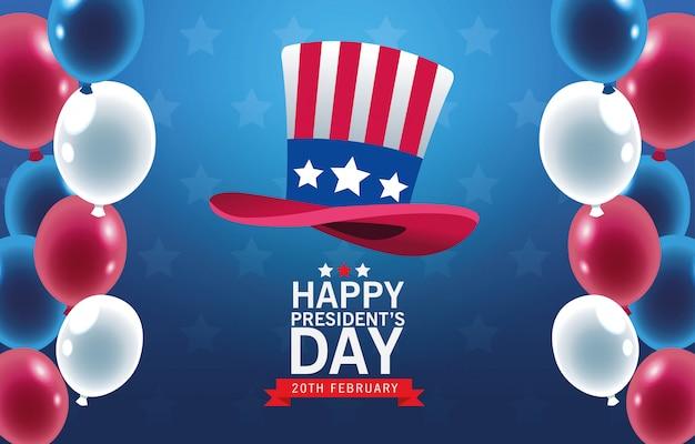 Feliz dia dos presidentes fundo com tophat e balões de hélio Vetor Premium