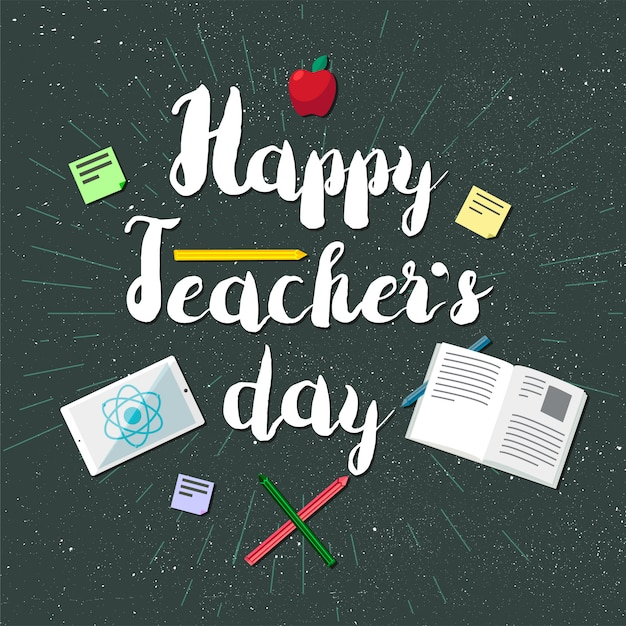 Feliz dia dos professores banner de celebração Vetor Premium