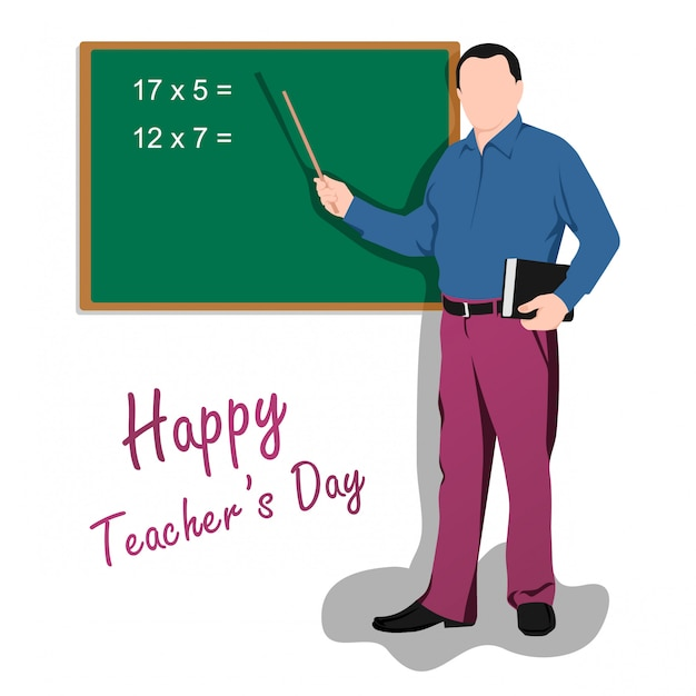 Feliz dia dos professores do mundo. ilustração, de, macho, professor Vetor Premium
