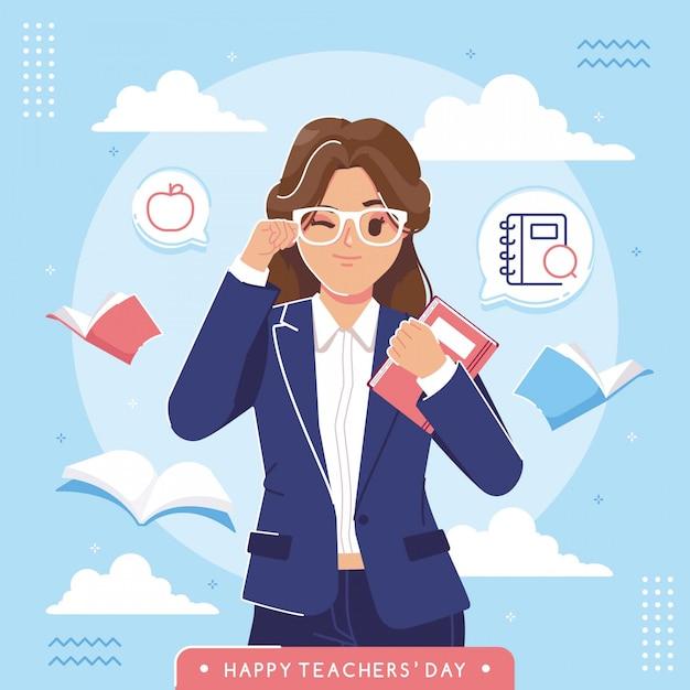 Feliz dia dos professores ilustração fundo Vetor Premium