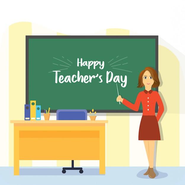 Feliz dia dos professores mulher plana Vetor Premium