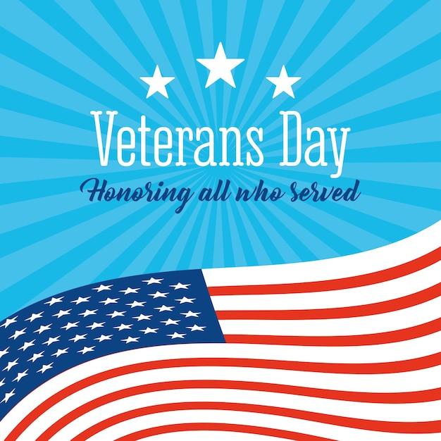 Feliz dia dos veteranos, acenando com estrelas da bandeira americana no fundo azul sunburst. Vetor Premium
