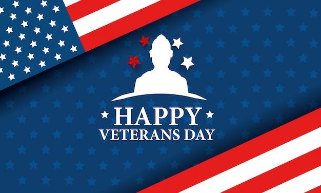 Feliz dia dos veteranos de celebração com silhueta militar e bandeira Vetor Premium