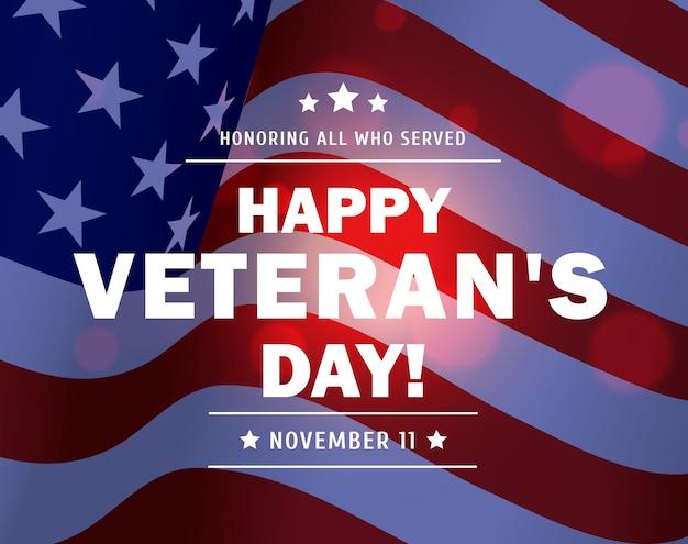 Feliz dia dos veteranos de fundo de veteranos militares americanos agitando uma bandeira dos eua Vetor Premium