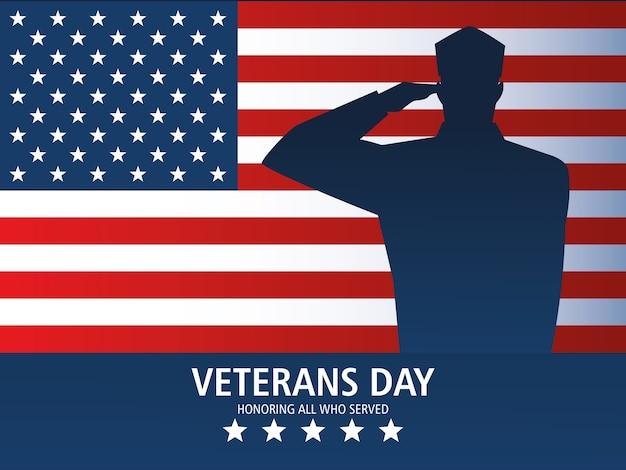Feliz dia dos veteranos, saudação do soldado do cartão e memorial da bandeira dos eua Vetor Premium
