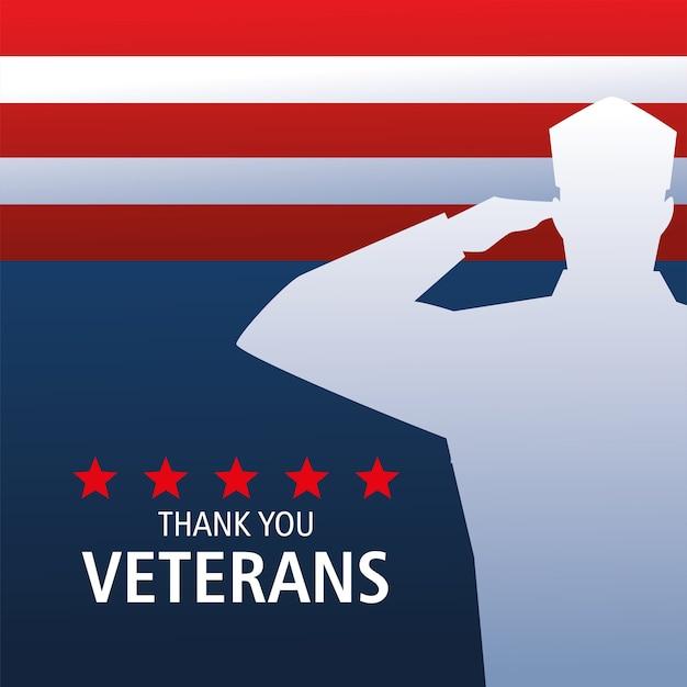 Feliz dia dos veteranos, silhueta do soldado saudando e bandeira Vetor Premium
