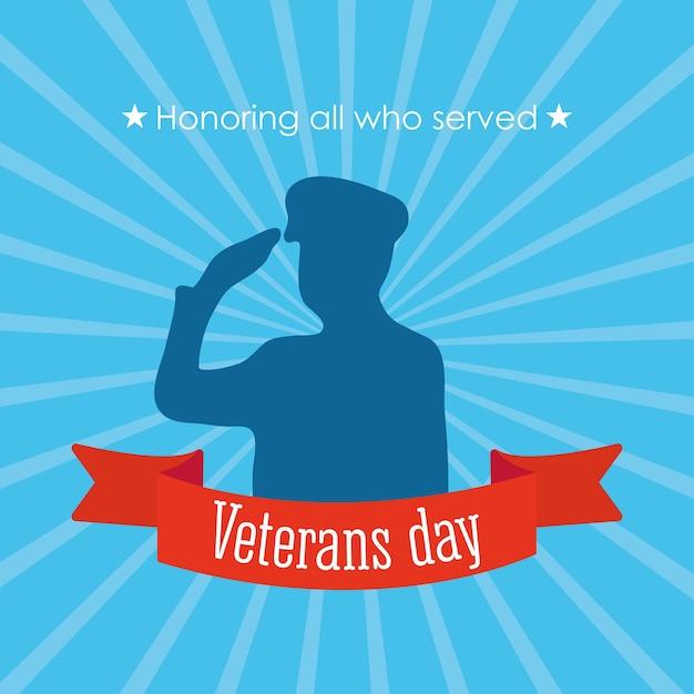 Feliz dia dos veteranos, soldado saudando em silhueta e ilustração de fundo de raios azuis Vetor Premium