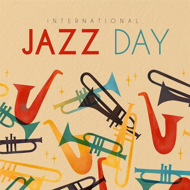 Feliz dia internacional do jazz com saxofones Vetor grátis
