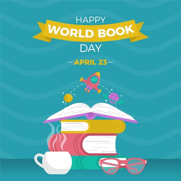 Feliz dia mundial do livro com livros empilhados e óculos de leitura Vetor grátis