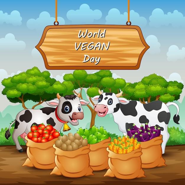 Feliz dia mundial vegan, sinal de fundo com vaca e vegetais Vetor Premium
