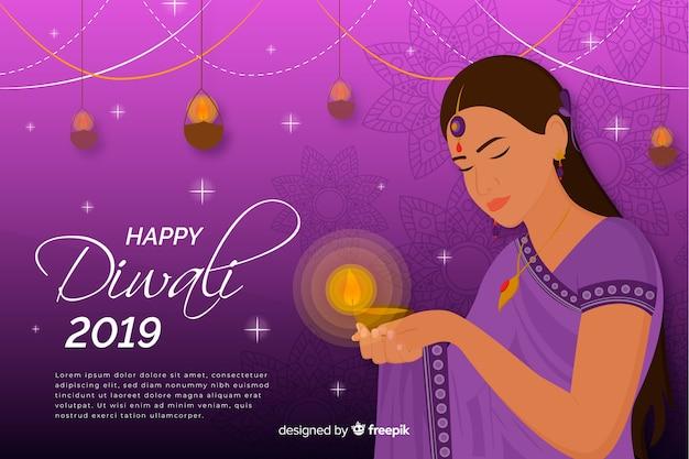 Feliz diwali 2019 fundo com mulher Vetor grátis