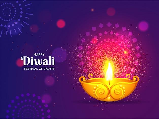 Feliz diwali cartão celebração Vetor Premium
