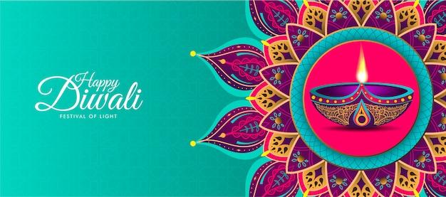 Feliz diwali com mandala colorida Vetor Premium