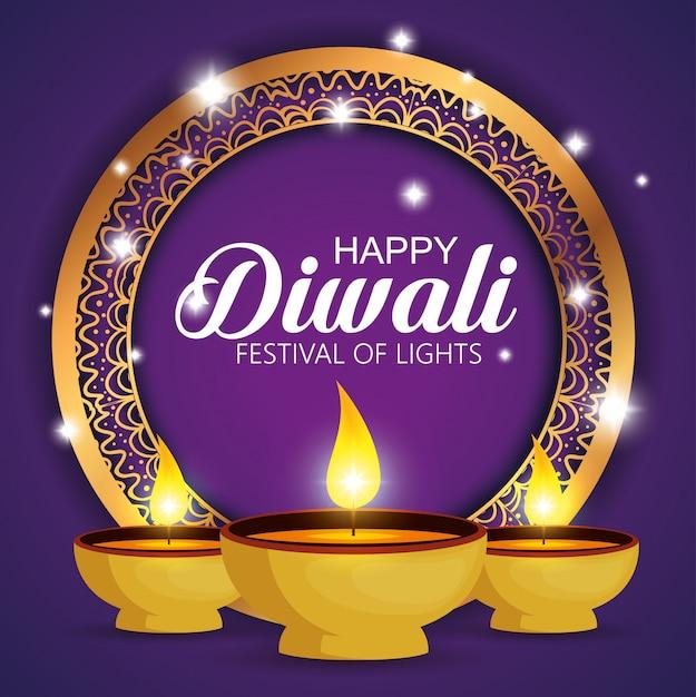 Feliz diwali festival de luzes com velas Vetor grátis