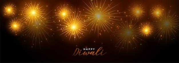 Feliz diwali fogos de artifício festival celebração banner Vetor grátis