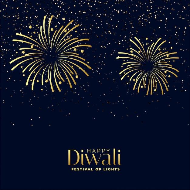Feliz diwali fogos de artifício fundo no tema dourado Vetor grátis