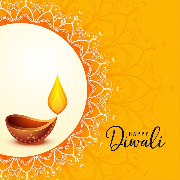 Feliz diwali saudação banner belo design Vetor grátis