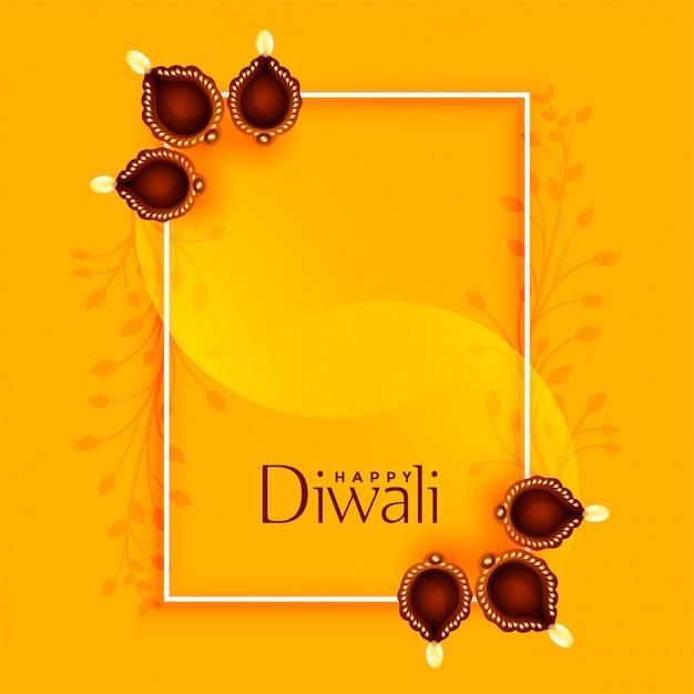 Feliz diwali saudação com diya e espaço de texto Vetor grátis