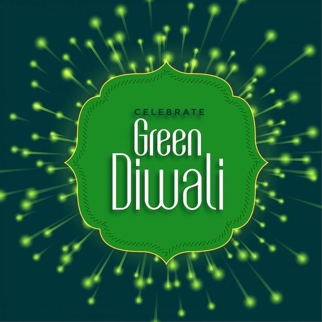 Feliz diwali verde com fogo de artifício amigável de eco Vetor grátis