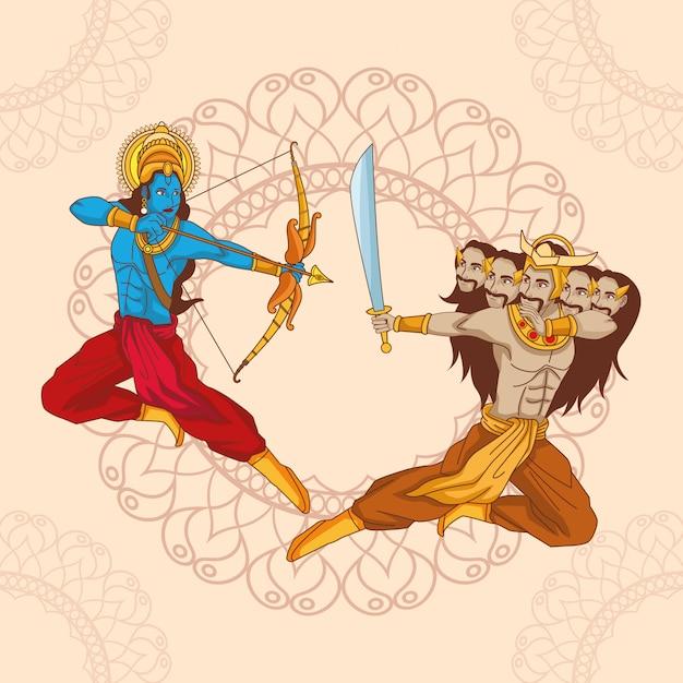 Feliz dussehra festival da índia Vetor Premium