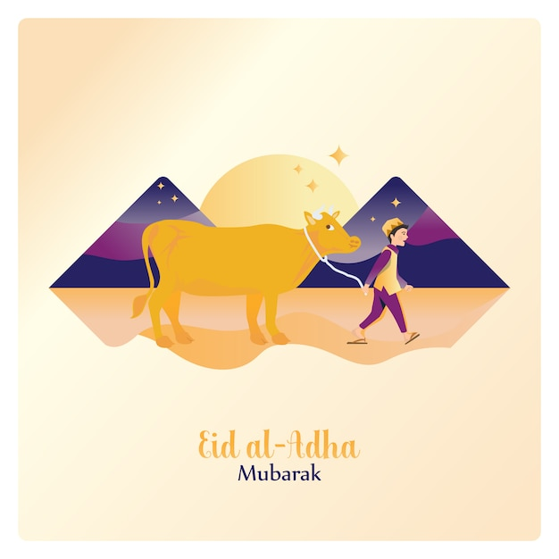 Feliz eid al adha mubarak, levando uma vaca para sacrifício islâmico Vetor Premium