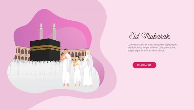 Feliz eid mubarak com a página de destino do personagem de pessoas Vetor Premium