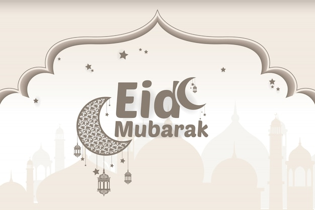 Feliz eid mubarak saudações Vetor Premium