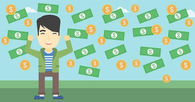 Feliz empresário sob chuva de dinheiro. Vetor Premium