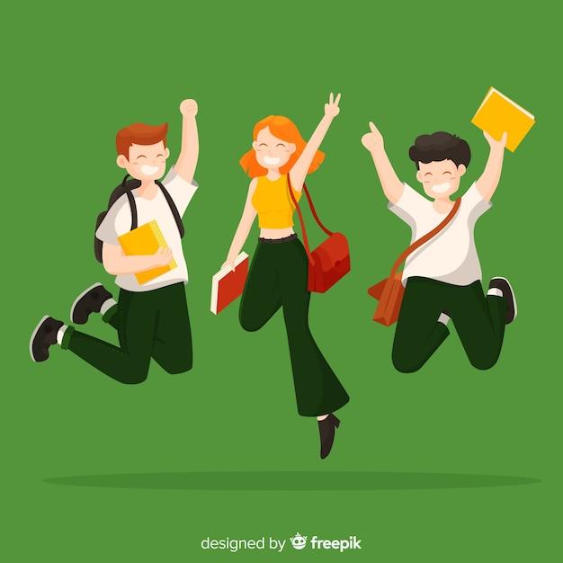 Feliz, estudantes, fundo Vetor grátis