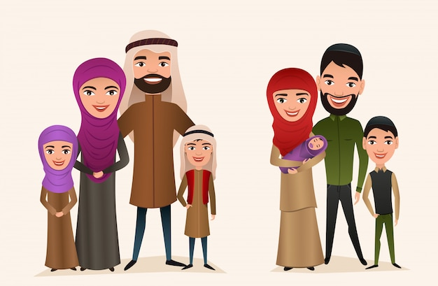 Feliz família árabe com conjunto de crianças Vetor Premium