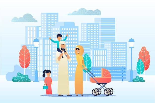Feliz família árabe dos desenhos animados passar tempo juntos Vetor Premium