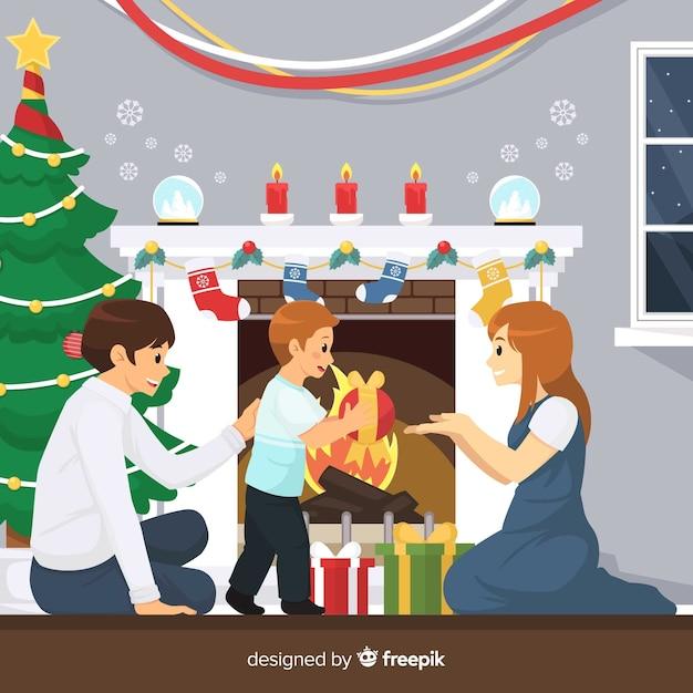 Feliz, família, cena natal Vetor grátis