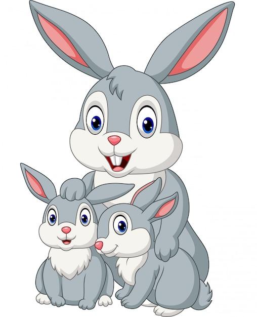 Feliz família de coelhos Vetor Premium