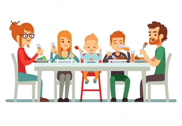 Feliz, família grande, comendo jantar, junto, ilustração Vetor Premium
