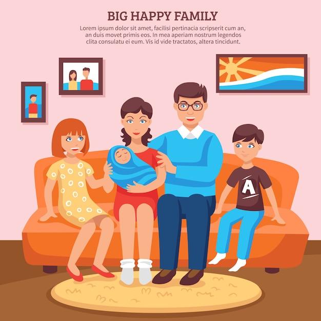Feliz, família, ilustração Vetor grátis
