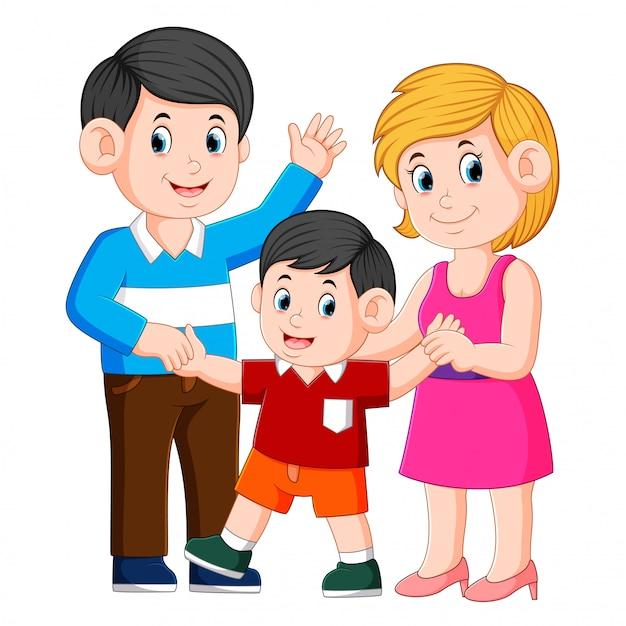 Feliz família jovem com uma criança em pé juntos Vetor Premium