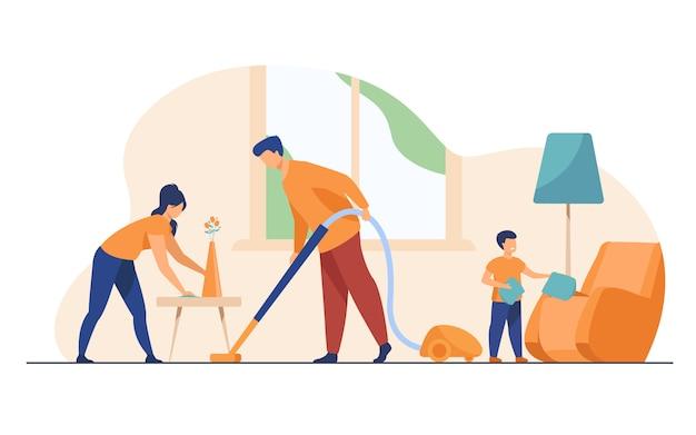 Feliz família limpeza juntos ilustração plana Vetor grátis
