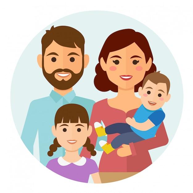 Feliz, família, redondo, ícone Vetor Premium