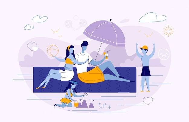 Feliz, família, verão, férias, lazer, tempo, verão Vetor Premium