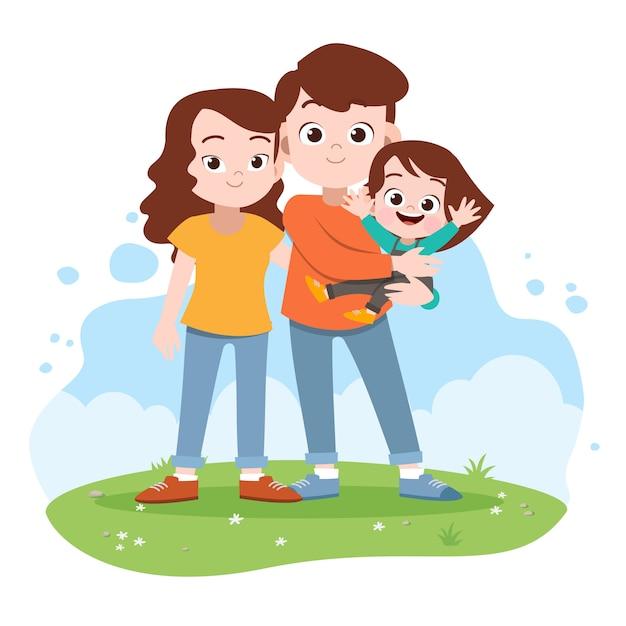 Feliz, família, vetorial, ilustração Vetor Premium