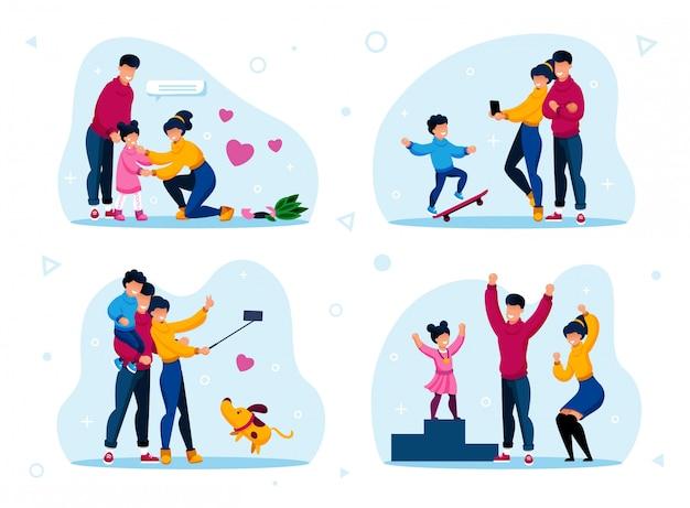 Feliz família vida situações plana conjunto Vetor Premium