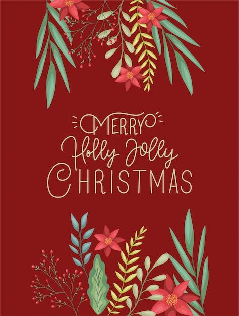 Feliz feliz natal cartão com decoração floral e caligrafia Vetor Premium