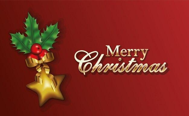 Feliz feliz natal letras com folhas e estrela Vetor Premium