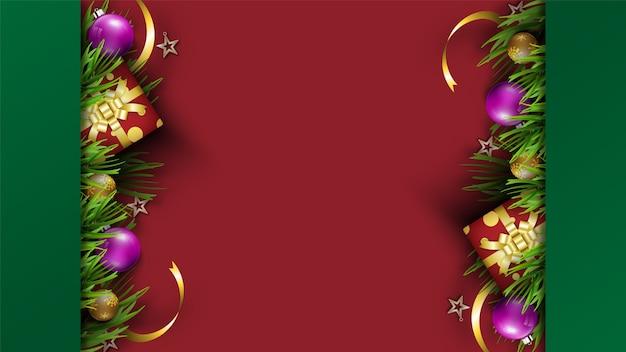 Feliz feriado de fundo festival de natal. temporada de decorações de natal Vetor Premium