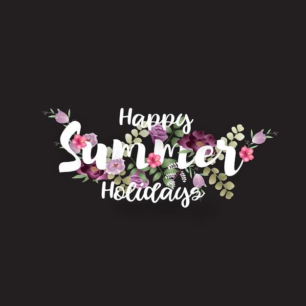 Feliz férias de verão tipografia com flores e folhas Vetor Premium