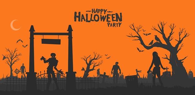 Feliz festa de halloween Vetor Premium