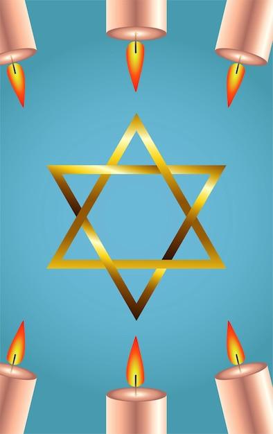 Feliz festa de hanukkah com estrela dourada e velas Vetor Premium